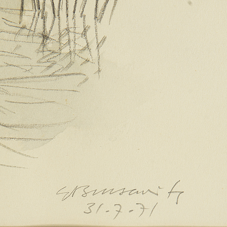 Gunnar brusewitz, watercolour and pencil, signed and dated 31-7-71.