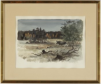 Gunnar Brusewitz, watercolour, signed and dated okt/-73.
