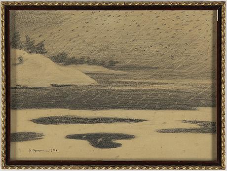 Oskar bergman, drawing, signed.