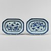 A pair of blue and white serving dishes, qing dynasty, qianlong (1736-95).