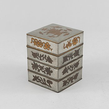 A Chinese pewter food container, Qing dynasty, circa 1900.