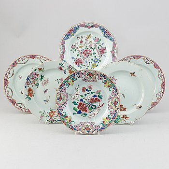 A set six odd famille rose dishes, Qing dynasty, 18th Century.