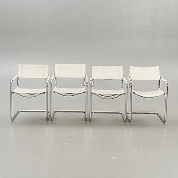 Mart Stam, a set of four leather and chrome Cantilever armchairs for Jox Interni 1990s.