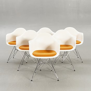 """Charles and Ray Eames, a set of six """"Eames plastic chair - DAR"""" for Vitra 2009."""