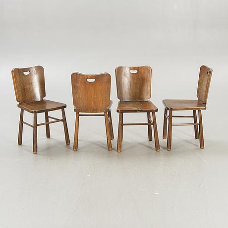 A five pcs pine 1950s dining set.