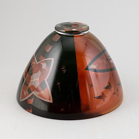 Bertil vallien, a unique glass bowl, kosta, sweden.