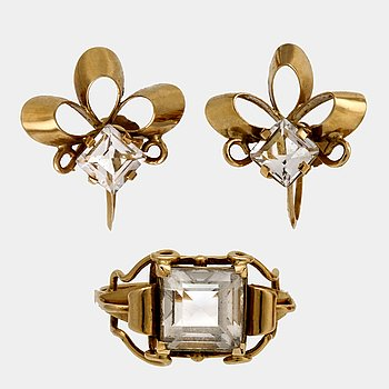 Ateljé Stigbert,ring and earrings, 18K gold and rockcrystal, Stockholm 1949.