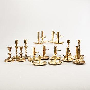 Candlesticks, 9 pairs, brass 1900s.