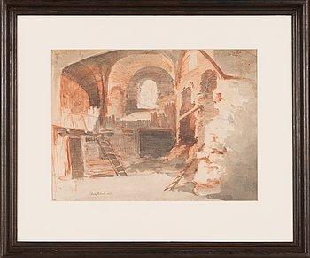 Carl August Ehrensvärd, tillskriven, röd krita och lavering på papper. Signerad och numrerad no 255.