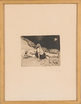 Akseli Gallen-Kallela, line-etching and drypoint, signed and dated 1905 on plate. Pencil signed with dedication.