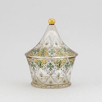 An Art Nouveau lidded glass bowl, Steinschönau, 1910's/20's.