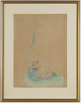 Einar Nerman, watercolour, signed and dated -18.