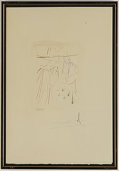 Salvador Dalí, drypoint in colours, signed and numbered 62/125.