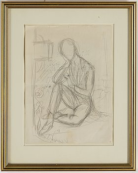 """Nils von Dardel, a pencil drawing, sketch for the painting """"Philippe""""."""