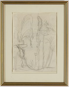 """Nils von Dardel, a drawing, sketch for the painting """"Dansbanan""""."""