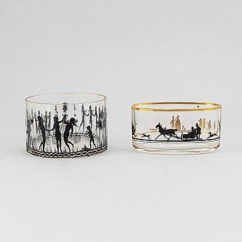 Two Art Nouveau glass bowls, Steinschönau, 1910's/20's.