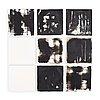 Alannah robins, ink on tile plates, 9 pcs, signed on verso ar 2014.