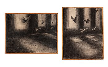 Peter Tillberg, two coal drawings on paper, signed and dated 1980.