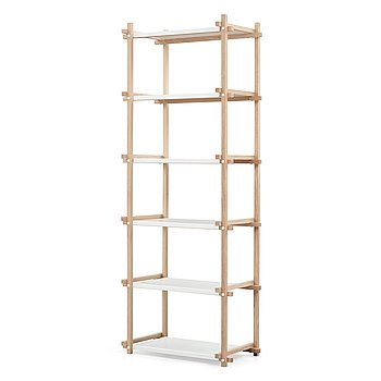 Hay, an oak and white lacquered steel shelf, contemporary production.