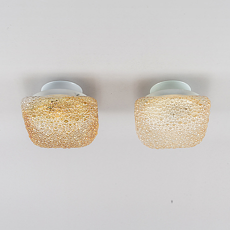A pair of glass ceiling lights, glashütte limburg, germany, second half of the 20th century.