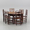 A matched seven-piece english oak dining suite, 19th-early 20th century.