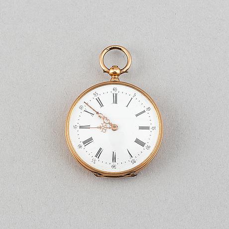 Pocket watch with i fickursställ av glas och mässing.