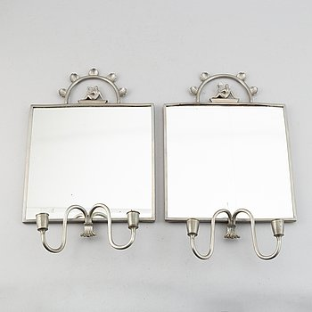 Two pewter wall sconces from Firma Svenskt Tenn, 1925.