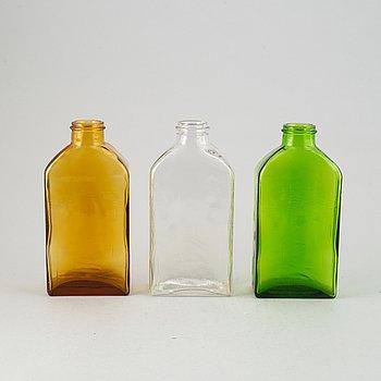 """Helena Tynell, flaskor, 7st, glas, """"Lankkupullo"""", Riihimäen Lasi, Finland, 1970-tal."""