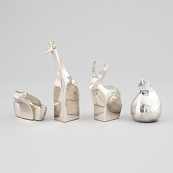 Gunnar Cyrén and others, four silver plated zinc figurines, Dansk Designs, Japan.