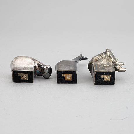 Gunnar cyrén, three silver plated zinc figurines, dansk designs, japan.