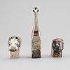 Three silver plated zinc figurines, dansk designs, japan, including gunnar cyrén.