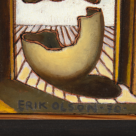 Erik olson, oil on canvas laid on panel, signed and dated -70.