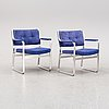 Karl erik ekselius, a pair of 'mondo' armchairs, later part of the 20th century.