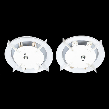 Uno & östen kristiansson, a pair of 'plafo' ceiling lights, luxus, second half of the 20th century.