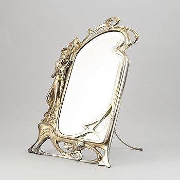 A silver plated Art Nouveau table mirror, early 20th Century.