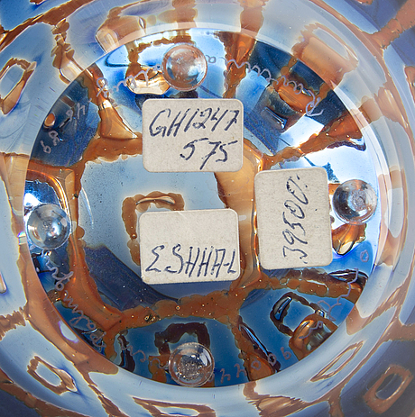 Sven palmqvist, an orrefors ravenna signed 1989 glass bowl.