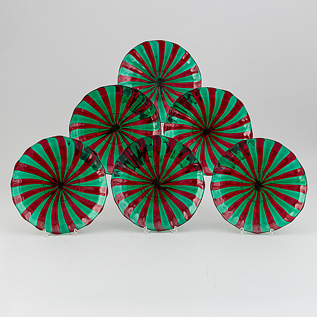 Six glass plates, murano, italy.