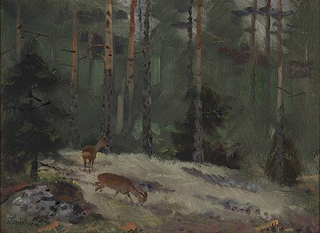 Lindorm liljefors, oil on panel, signed.