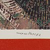 Max walter svanberg, litograph in colours, with embossing, signed, numbered 134/300 and dated -72.