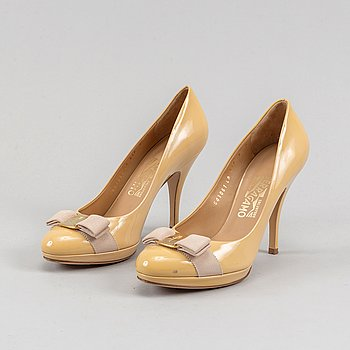 Salvatore Ferragamo, a pair of 'Tina' patent leather high heel shoes, size 8.