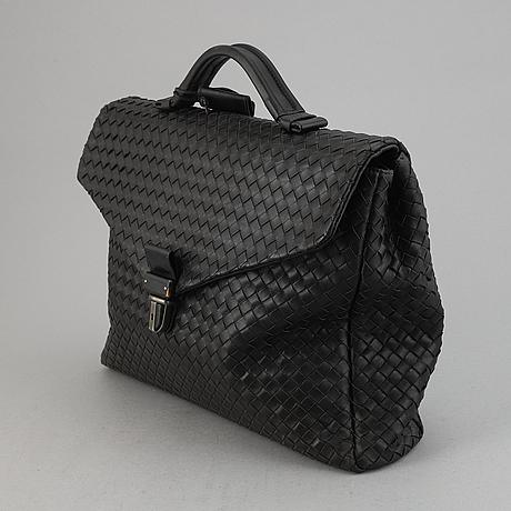Bottega veneta, a black intrecciato leather briefcase.