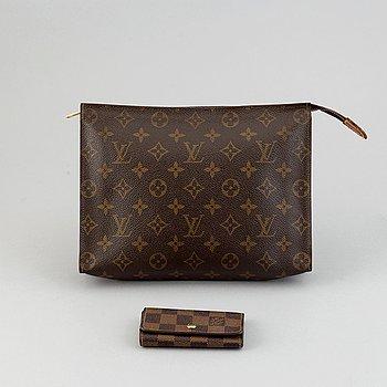 Louis Vuitton, a monogram canvas toilet bag and a Damier Ebene key holder.