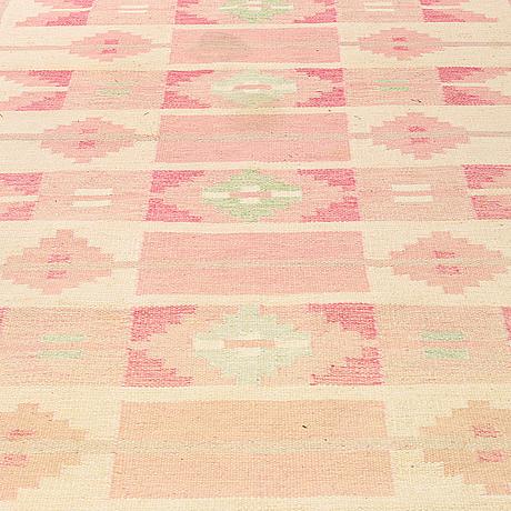 "Ingegerd silow, a carpet, ""skarup"", flat weave, ca 292,5 x 197 cm, signed is."