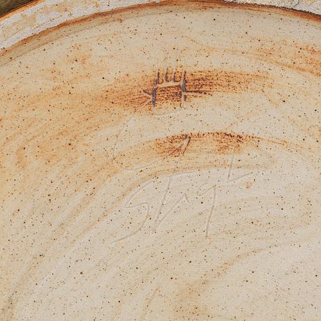 Stig lindberg, a stoneware bowl and a dish, gustavsbergs studio.
