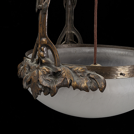 A bronze ceiling lamp, jugend early 20th century.