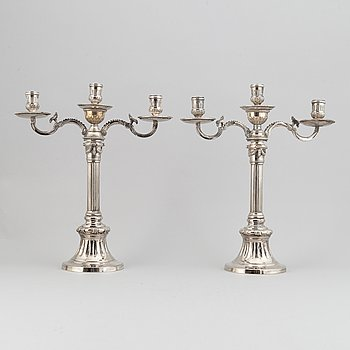 """A pair of silverplated candelabra, """"Väsby"""" of the IKEA 18th century series, late 20th century."""