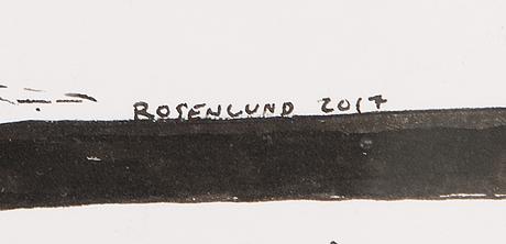 Tuomo rosenlund, tussi paperille, signeerattu ja päivätty 2017.