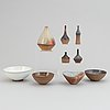 Sven hofverberg, a set of five stoneware vases and four bowls, mid 20th century.