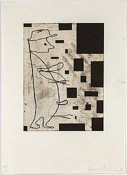 Donald Baechler, etching, signed and numbered AP IV, dated -86.