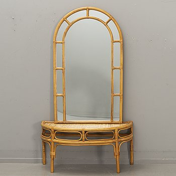 A 1970s bamboo and rattan  mirror with table,